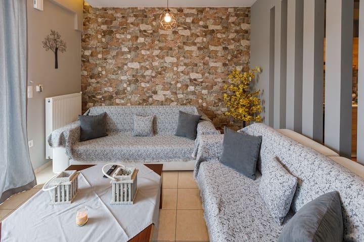 View of privet living room of villa joanna 1. Decorative details.