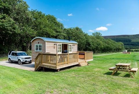 Barn Owl Luxury Shepherd Hut com banheira de hidromassagem privada