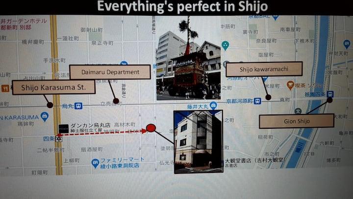 """""""Shijo K12C302"""".2min walk to Subway.四条烏丸駅2分!大丸百貨店1"""