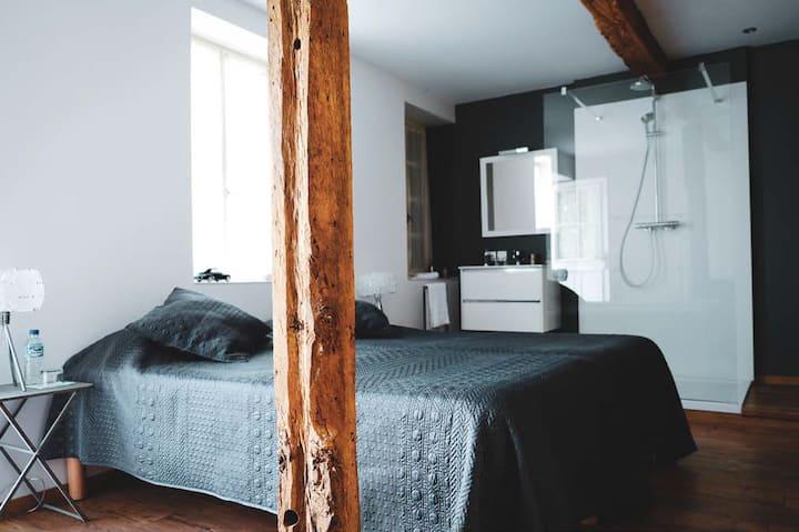 Chambre avec accès jacuzzi et pdj pour 2