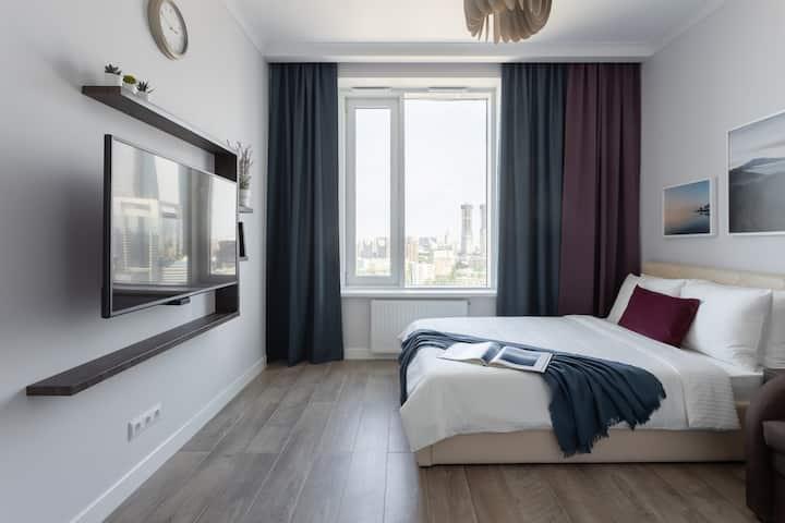 Стильные апартаменты с видом на Москва-Сити