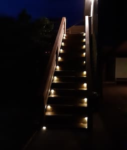 Solar lights one both entrance stairs.