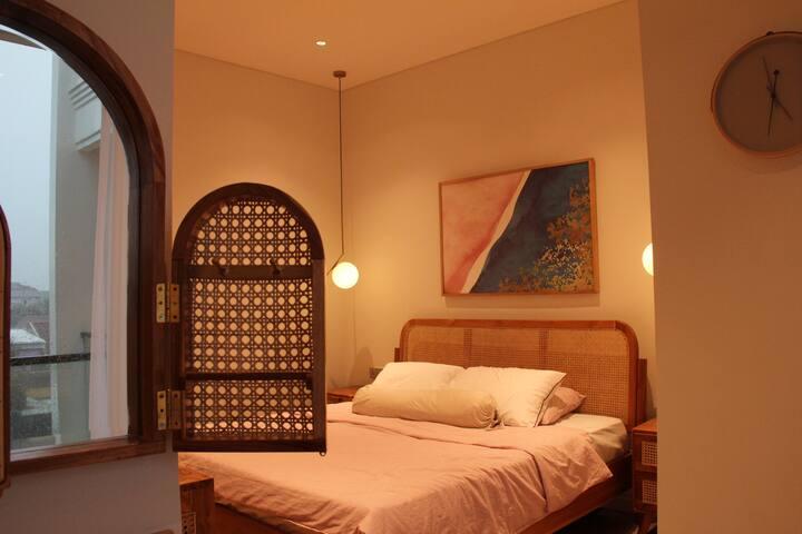 Cozy master bedroom for a good night's sleep.