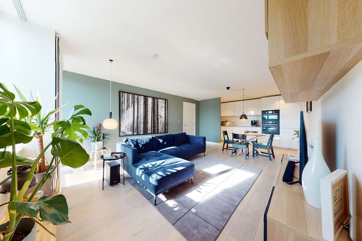 Flat 5min to Tower of London w/private parking&gym