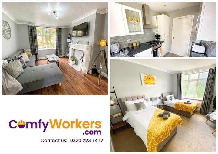 Contractor House ★ Airport + M1 by Comfy Workers