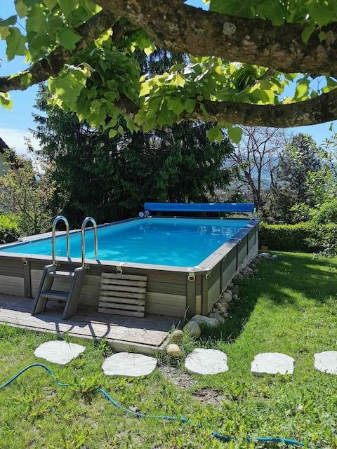 Appartement privé  30 m2, jardin, proche des bains