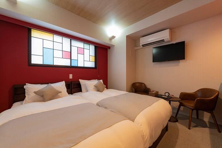 【No1-2】キッチン付き★アールデコ♡カップルにもおすすめ新築ホテルのかわいいお部屋♪