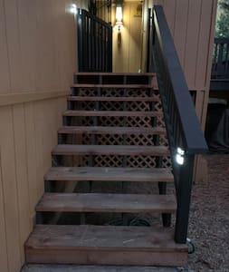 Motion sensor lights on entry stairway
