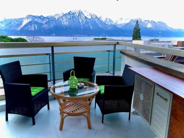 4.5 room Magnifique vue, cosy, moderne, centre