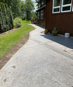 Well Lit Pathway leading back to your getaway.  Motion Sensor Spot Lights will light up the path after dark.