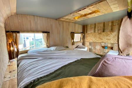 Cosy caravan with private bathroom and garden.