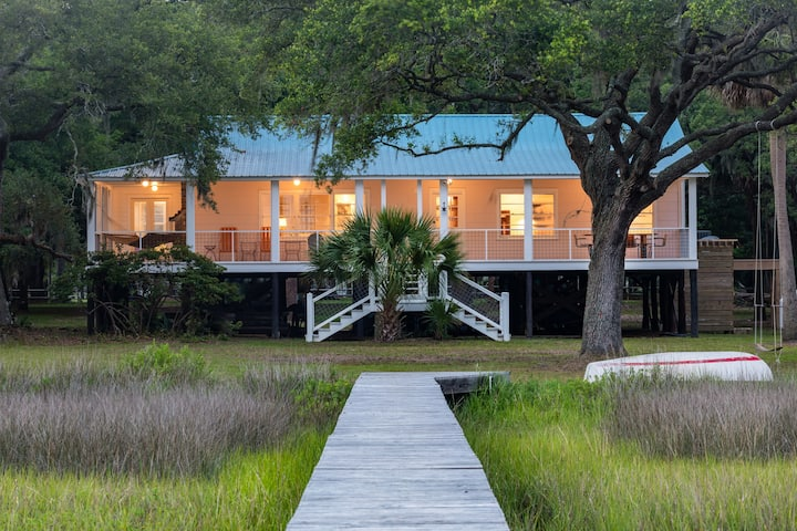 Modern Cottage on Edisto with deep water and views