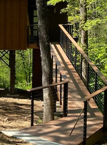 Wheel chair accessible ramp into the TreeLoft's entrance. Guests using a wheel chair may need assistance due to the pitch of the ramp. Entry door width is 36 inches as well.