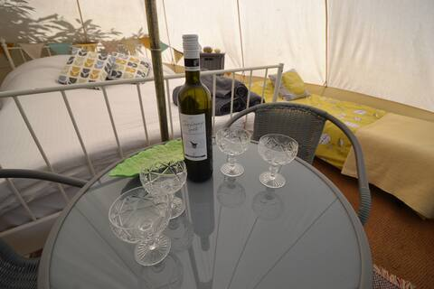 Sunset bay bell tent with hot tub