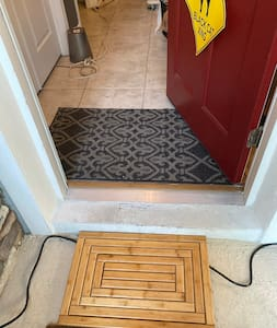 This is a 36 inch door way but it does still have a step