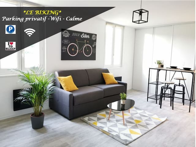 LE BIKING *STUDIO (30m²) *WIFI*PARKING PRIVE*CALME