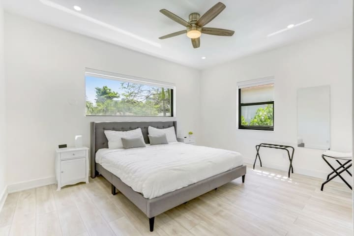 Master bedroom with private bathroom and closet.
