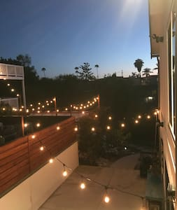 We have hanging lights throughout the backyard to light up the way. We do have a lot of stairs and the path to glamping tent is a rock path.