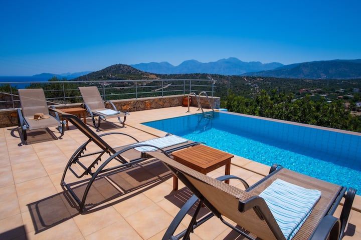 Modern hilltop villa with pool near Agios Nikolaos