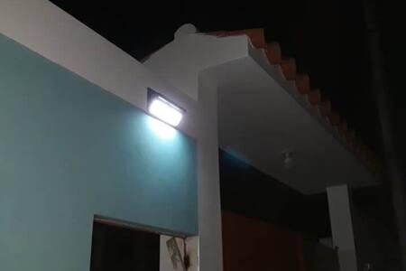 Sensor solar lights by the entrance