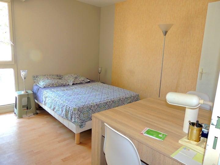 Bedroom with enclosed garden