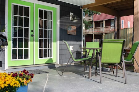 French doors; both door open inward to create an extra large opening.