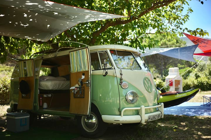 Vintage camping experience on the beach