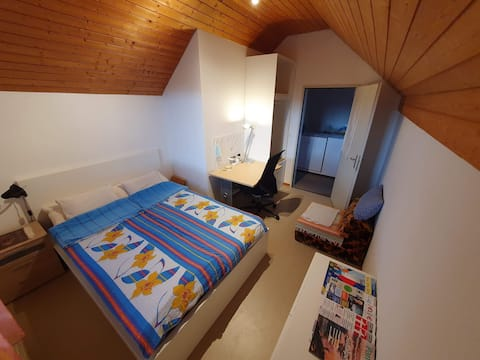 Studio with private bathroom in attic + parking