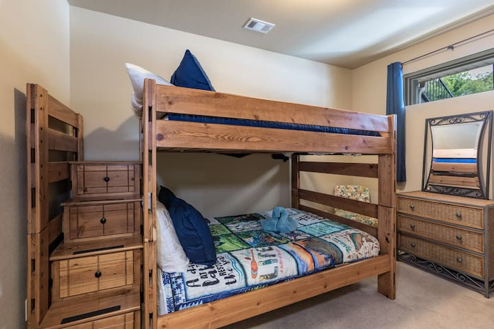 Double size bunk beds.  Each sleeps two for a total of 4.  Top bunk has a 400 lb weight limit