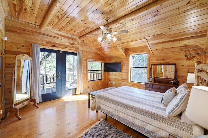 Upstairs Master suite with private balcony