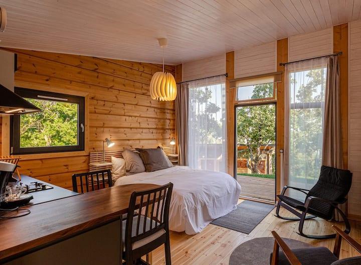 Studio 3 * au charme nordique avec cuisine & sauna