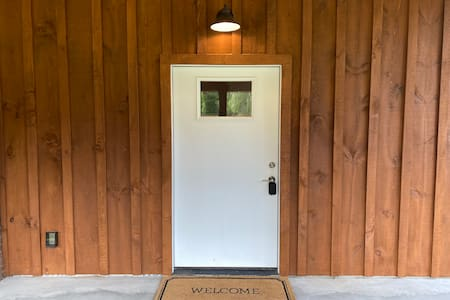 Handicap accessible-sized entry door.
