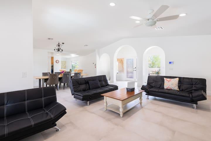 Living Room Area with 3 Futon Sofas