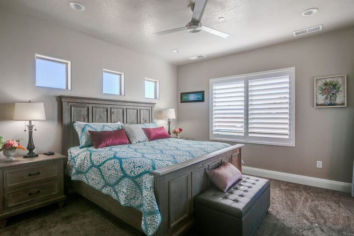 Master bedroom suite on second floor with King size bed, large TV, private bath ensuite and walk out deck.