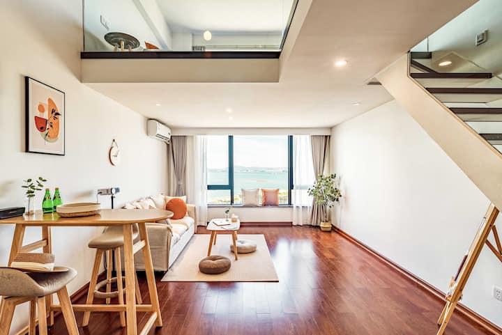 🏅️ 菲home  无遮挡海景Loft|Bose音响|落地窗|日式简约|3分钟海边|投影|干净舒适