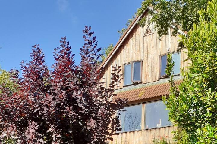 Swedish style wooden home with river views