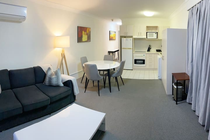 Open plan lounge-room-dining-kitchen. Sofa bed sleeps two adults. Linen, doona, pillows will be provided on request (please request at the time of booking)