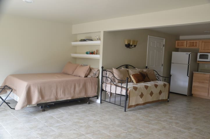 Basement room with Queen bed shower bathroom daybed full kitchen and game in garage.  Walk out to hot tub.