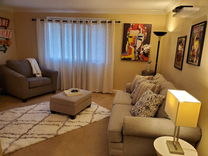 Comfy king size bed in modern condo
