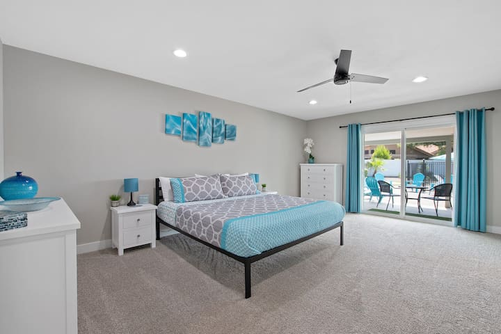 """Master Bedroom #1 at The Turquoise House  """"West"""" - There are 2 Master bedrooms on Opposite sides of the house for Maximum Privacy."""