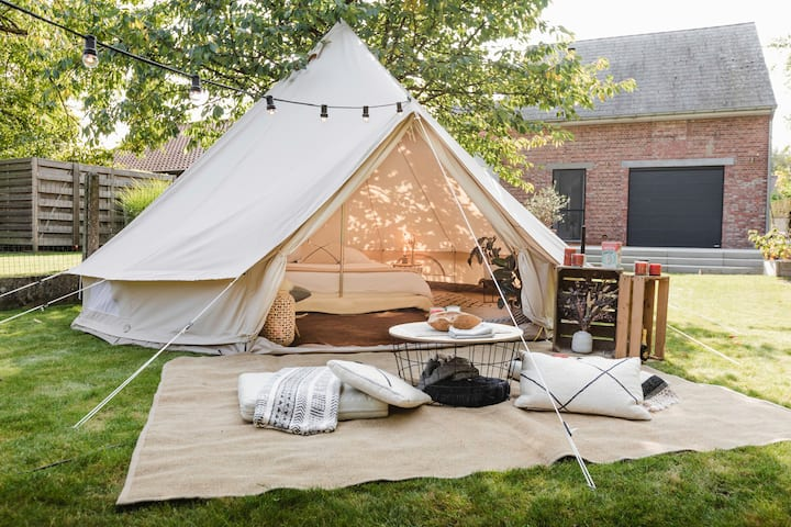 Glampingtent in garden with shared bathroom