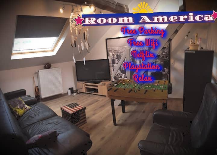 Playstation4+ proche ULG + salon privé Americaroom