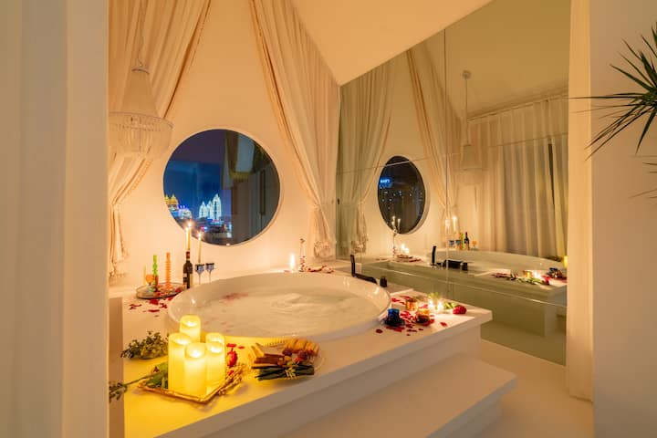 【象牙塔】五分钟达告庄#圣托里尼#直径1.5米超大仪式浴缸#复式loft复式阳光#