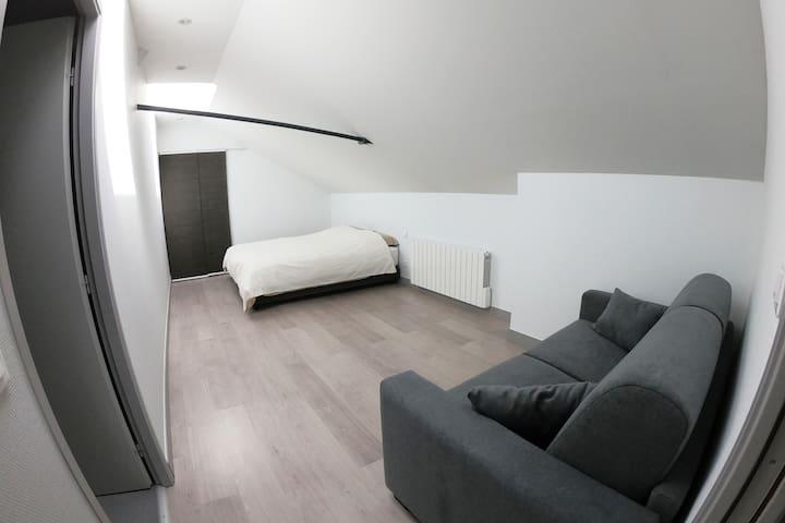 1ère chambre, avec canapé-lit, dressing et salle de douche.