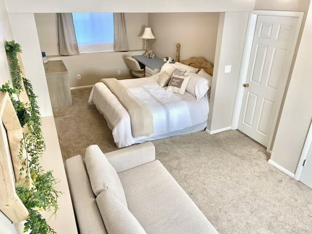 Master Bedroom with King size bed and pull out queen bed.