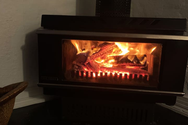 Toasty warm with the wood fire