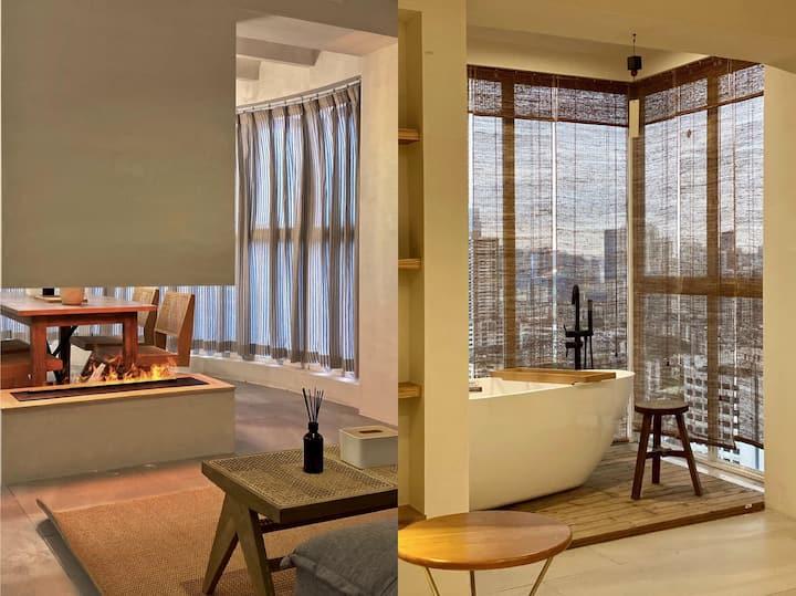 allday.【wabi-sabi】100平超大单身公寓|落地窗浴缸