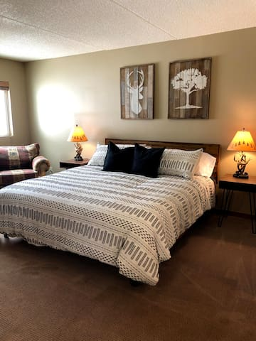 Newly updated Master Bedroom with brand new king size bed.
