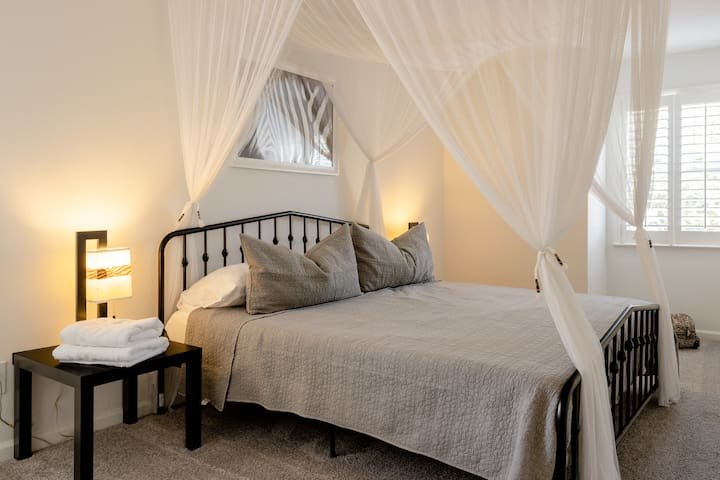 Sleep well under the mosquito netting in the Zebra Room. No actual mosquitoes ;)