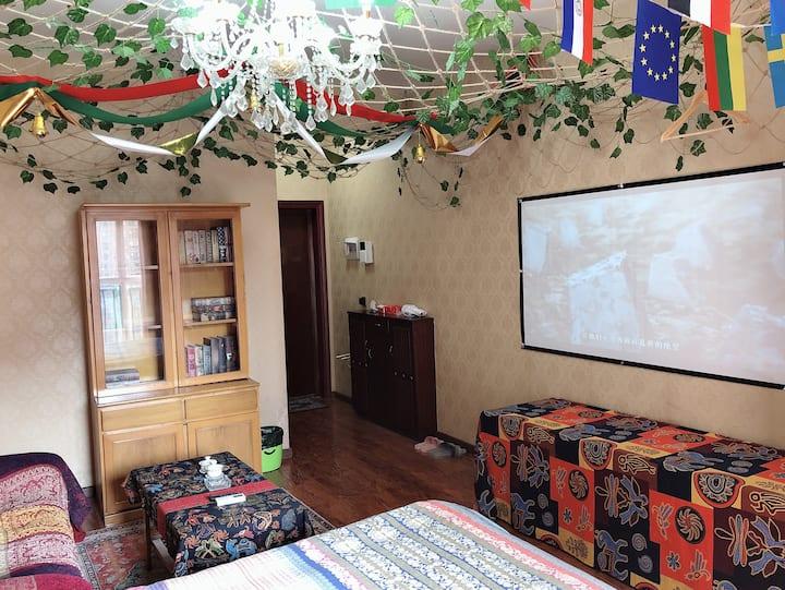 「Messi·波西米亚」复古风投影套房/华商爱琴海·客运总站·自贡灯会